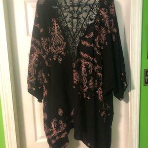 Floral Black Lace Kimono